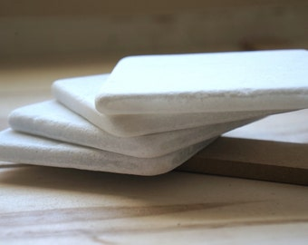 SALE***  Set of 4 White Tumbled Marble Square Coasters. Snow White Marble. Natural Stone Coasters.