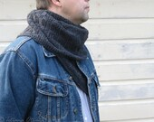 Gray men knit scarf Long wool neck warmer Textured knit scarf Unisex winter gift Boy teen accessory