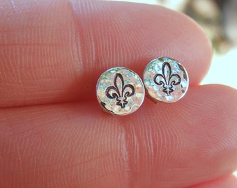 Fleur de Lis Sterling Silver Post Earrings - Stud Earrings - Tiny Posts - Hand Stamped Everyday Jewelry - Stocking Stuffer