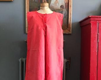 Antique French cotton linen metis ladies sleeveless nightdress monogram initial M dyed Red size M UK 12