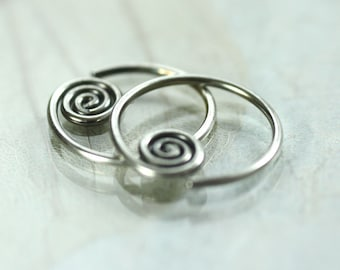 Silver Sleeper Hoops with Celtic Spiral - Sideways | Sleeper Earrings | Silver hoops | Spiral Hoops