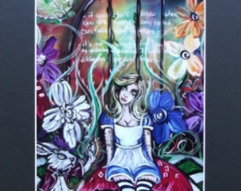 Alice In Wonderland Doll With Rabbit And Quotes Art Print Black Matted