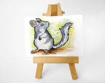 Chinchilla Art, ACEO Original, Pet Painting, Animal Artwork, Chinchilla lover, Pet Loss, In Memory, Memorial Gift, Chinchilla Owner