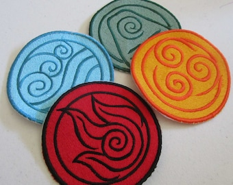 Avatar elements Choose your element 1 Iron on or Sew on machine embroidered patch