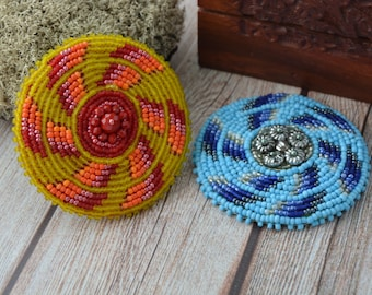 Ice and Fire spiral beaded medallions set, tribal fusion medallions, tribal fusion belt brooch, beaded hair clip, Tribal stage accessories