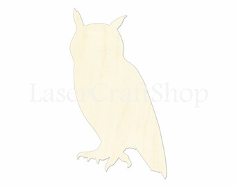 """2"""" - 34"""" Owl Wooden Cutout Shape, Silhouette, Gift Tags Ornaments Laser Cut Birch Wood  #1107"""