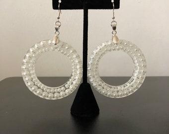 Pearl Resin Hoop Earrings