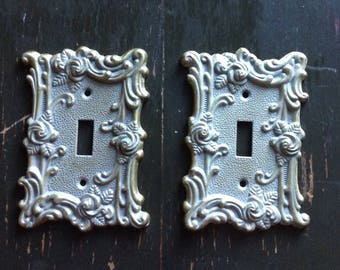 Vintage Brass Plated Light Switch, Switch Plate Cover