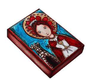 Saint Barbara - ACEO Giclee print mounted on Wood (2.5 x 3.5 inches) Folk Art  by FLOR LARIOS