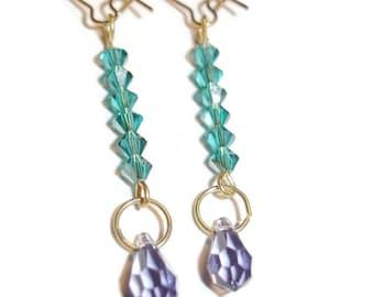 Purple Swarovski and Green Crystal earrings