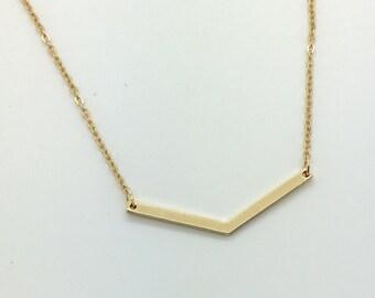 Gold Chevron Necklace, V Necklace, Geo Necklace, Dainty Minimalist Necklace, Simple Layering Necklace, Modern Necklace, everyday necklace