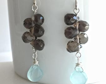 Aqua sea blue Chalcedony smoky quartz sterling silver dangle brown taupe handmade drop earrings genuine gemstones cluster