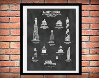 US Lighthouses of the East Coast - Art Print  - Nautical Art - Marina Art - Sailor Art - Minots Ledge - Sandy Hook - Robbins Reef Lighthouse