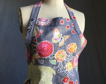 Cooking Apron in Colorful Animal Floral Print