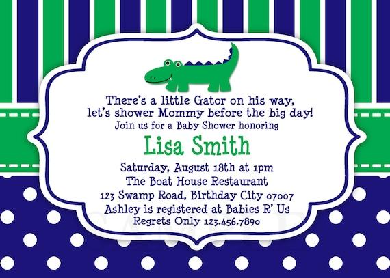 Blue And Green Alligator Baby Shower Invitation Preppy