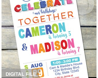 """Joint Birthday Party Invitation - Combined Birthday Invite - Brother Sister Boys or Girls Twins Any Age - DIGITAL Printable Invite - 5"""" x 7"""""""