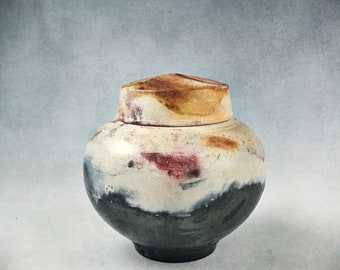 Small Black and Cream Ceramic Cremation Urn, or Keepsake Urn  Barrel-fired alternative raku