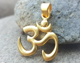 ON SALE TODAY Gold Om Pendant - 24K Gold Vermeil Om Necklace - Aum - Ohm - Optional Custom Length Gold Filled Chain