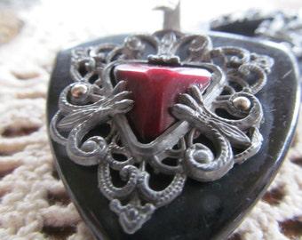 Antique Victorian Mourning Pendant Fur Clip Cape Clip Black Blood Red French fleur de lis Buckle Fur Clip Victorian Accessories
