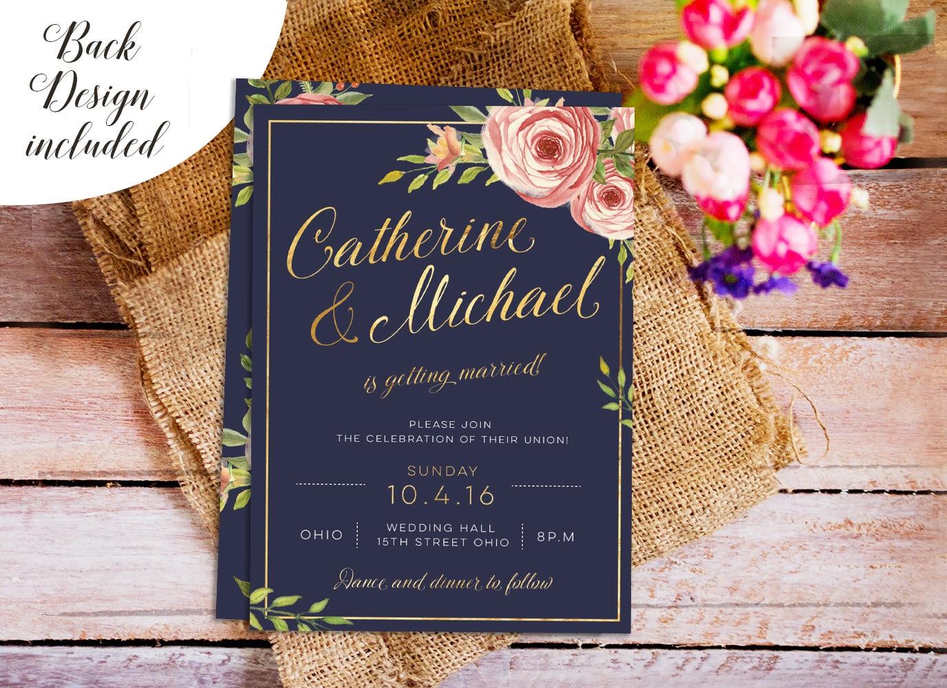 Navy Wedding Invitations: Navy And Gold Wedding Invite DIY Wedding Invitation Set