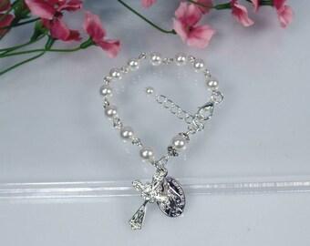 First Communion Bracelet First Communion Gift Girl's Rosary Bracelet  Child Rosary Bracelet Flower Girl Gift