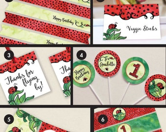 Birthday Party Decorations - Ladybug Birthday - First Birthday - Girl Birthday - DIY Printable Birthday