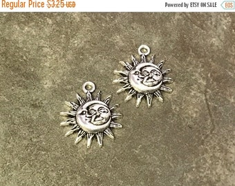 On Sale NOW 25%OFF Sun / Moon Face Pendants For Leather Cord Or Chain - Antique Silver - Z3908 - Qty 2