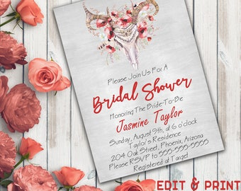 Skull Bridal Shower Invitation, Boho Bridal Shower Invitation, Floral Bridal Shower, Rustic, Wreath, Watercolor, Bohemian, Instant Download