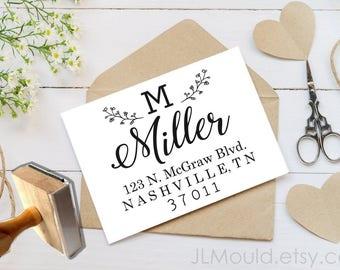 JLMould Custom Rubber Stamp, Return Address, Couture Wedding Favor or Gift, Last name Personalized rubber stamp, Return Address Stamp 1501