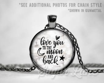 Love You to the Moon Necklace - Love Pendant - Valentine's Day Necklace - Valentine's Day Jewelry - Love Jewelry - Glass Dome Pendant