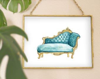 Watercolor Fainting Chair Print, printable wall art, bathroom art, pdf prints, furniture print, furniture art, chair print,