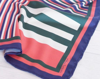 Striped scarf in blue, green, orange and white//summer scarf//Square silk//orange, blue and green scarf//silk scarf