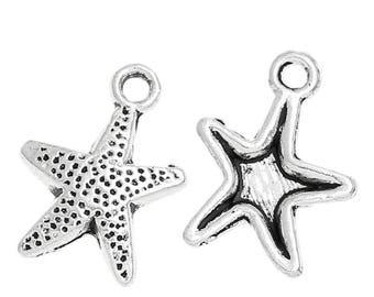 x 2 pendants star of sea charm 16 mm silver charms