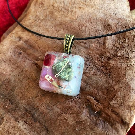 Steampunk Orgonite® Charm- Phoenix Opal Orogne Energy Generator Pendant- Astral Travel & Spiritual Protection Orgonite® Necklace