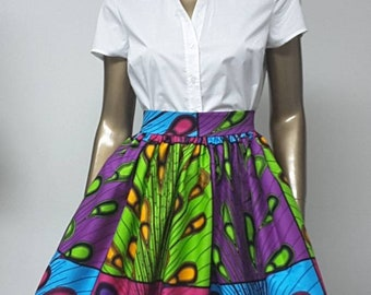 Fully lined Skirt with Inside Pockets. Attached Petticoat. Womens. Handmade. African Prints.