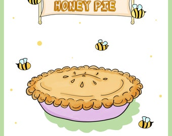 A4/A5 Retro Honey Pie and Bumble Bee Beatles Kitchen Art Print