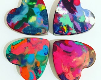 Kids HEART Crayons - Valentines Crayons for Kids - Jumbo Original Rainbow Crayon (1 Crayon) - Valentines Day Party - 1 Heart Crayon