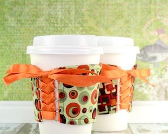Corset Coffee Cup Cozy // Mid Mod Cup Cozy // reversible // adjustable // reusable coffee sleeve // beverage cozy // to go cup cozy