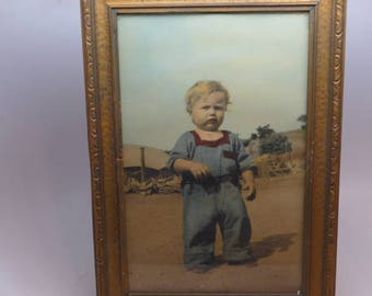 Vintage Hand Tinted Framed Childs Photo - Hand Tinted Childs Portrait - Hand Tinted Photo - Vintage Childs Photo - Vintage Frame.