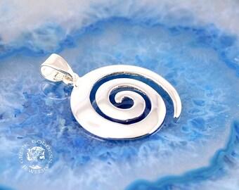 spiral silver pendant, spiral pendant, greek pendant, silver pendant, greek jewelry, silver necklace, spiral necklace, gift for wife, spiral