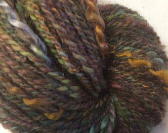 Art Yarn Fall Garden green and purple wool mohair 2 ply aran weight 3.9 oz 136 yards