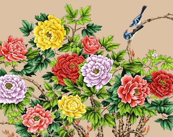Birds and Blooming Peonies 2 -Cross stitch PDF Pattern
