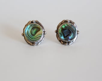 Sterling silver and abalone earrings