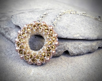 Dainty Ring Necklace - Crystal Ring Pendant - Pearl Ring Necklace - Gold Donut Pendant - Delicate Ring Pendant - Gold Circle Necklace