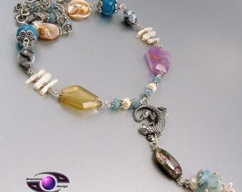Amethyst Citrine  Abalone Aquamarine Biwa Freshwater Pearl MOP Quartz Agate Gemstone Necklace