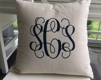 Monogram Pillow - Monogrammed Throw Pillow - Custom Throw Pillow - Personalized Pillow