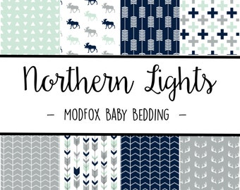 Northern Lights Baby Bedding - Woodland Animal Bedding - Woodland Crib Sheet - Navy Crib Sheet - Mint Crib Sheet - Crib Bedding-Crib Blanket