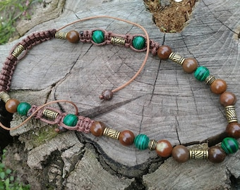 Mens beaded necklace Mens Choker Boho Mens Necklace Gemstone Men Jewelry set mens Long necklace Malachite Jasper Necklace men Green Brown