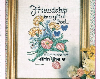 Friendship Is A Gift From God Counted Cross Stitch Chart - Christian Religious Cross Stitch - Friend Cross Stitch