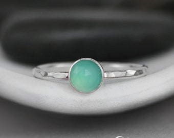 Aqua Blue Promise Ring - Sterling Silver Aqua Chalcedony Ring - Rose-Cut Engagement Ring - Round Simple Ring - Aqua Gemstone Stacking Ring